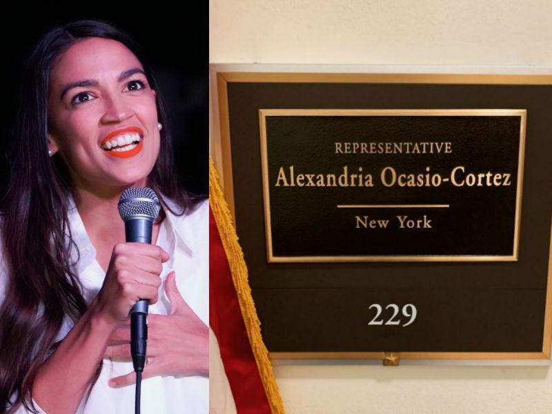 Alexandria Ocasio-Cortez is being mocked after celebrating her new office plaque on Instagram. (Photo: Getty Images/Twitter)