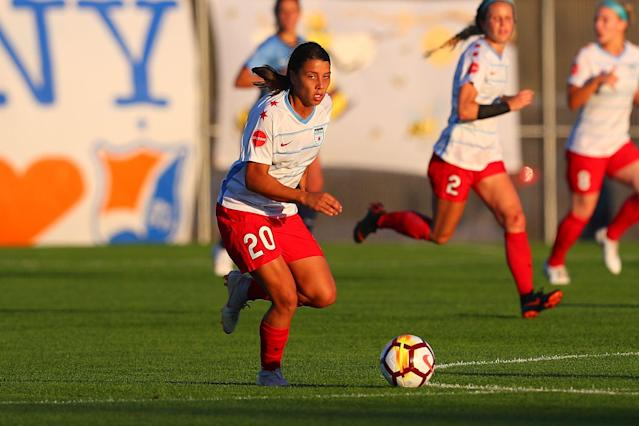 Samantha Kerr of the Chicago Red Stars led the NWSL in scoring last season. (Getty)