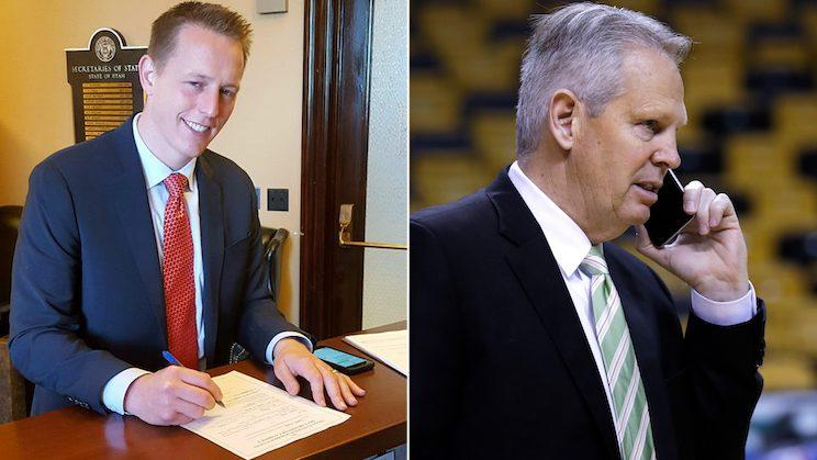 Tanner Ainge (left) and his father, Celtics president of basketball operations Danny Ainge, have different stances on Gordon Hayward. (AP)