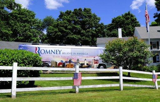 """US presidential hopeful Mitt Romney's campaign bus leaves after a campaign rally at Scamman Farm in Stratham, New Hampshire. Romney started a five-day, six-state bus tour billed as the """"Every Town Counts"""" tour"""