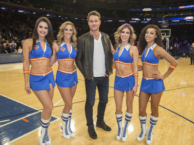 <p>The <em>This Is Us</em> actor sat courtside at Madison Square Garden Monday night, and posed with the Knicks City Dancers, as the New York Knicks played the L.A. Clippers. (Photo: Anthony J. Causi / Splash News)<br><br></p>