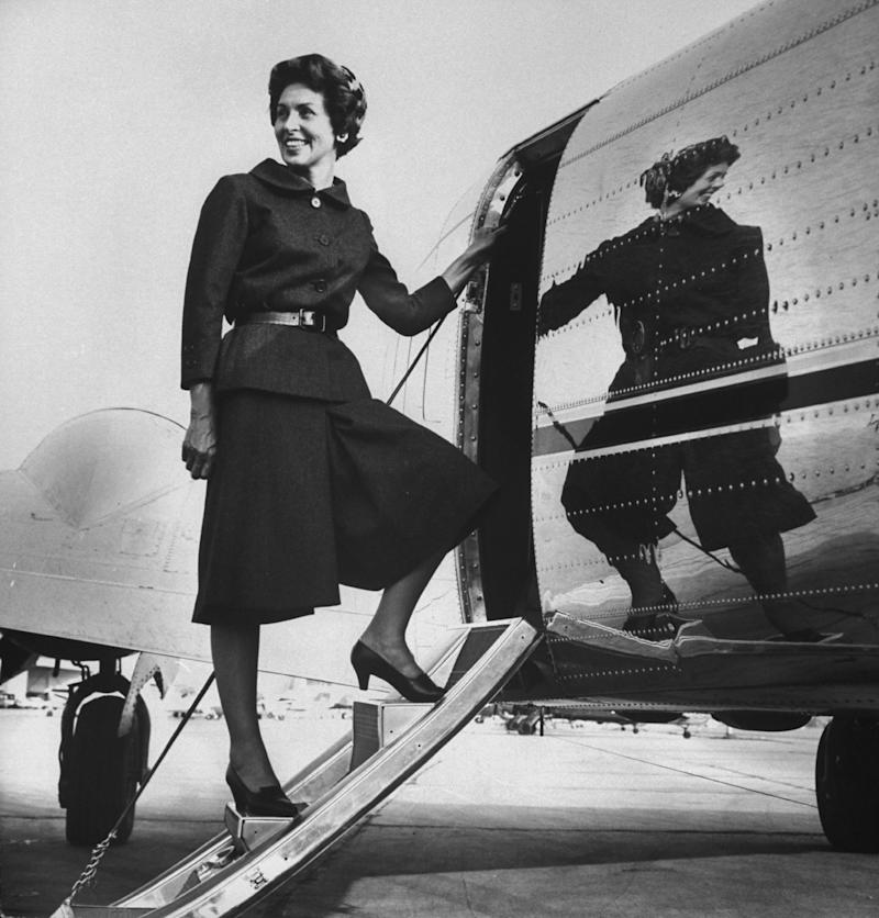 Mrs. Charles McGaha (née Jeanette Large) in Norman Norell's culotte suit, 1960.