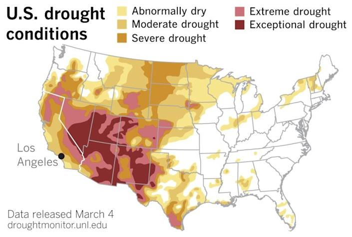 The most recent U.S. Drought Monitor data released Thursday.
