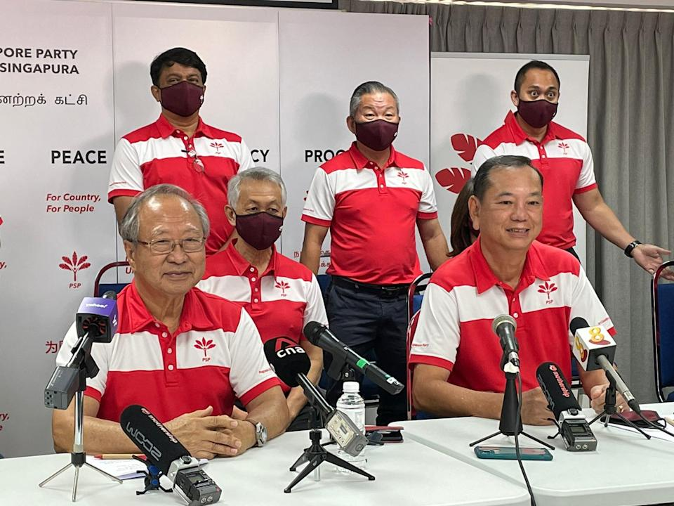 Tan Cheng Bock, Francis Yuen at PSP CEC press conference.