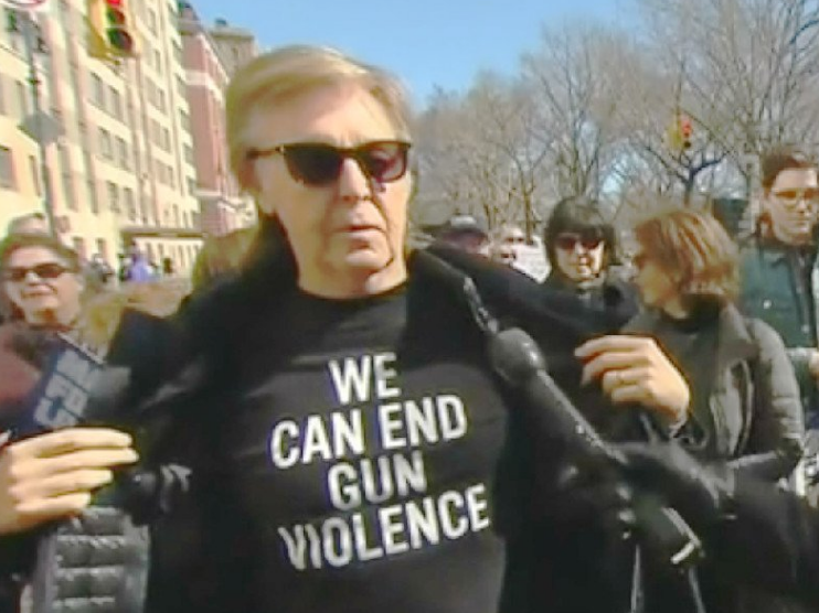 Paul McCartney Marches For John Lennon Killed By Gun Violence