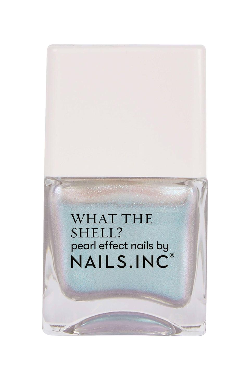 """<p><strong>Nails.INC Anthropologie</strong></p><p>anthropologie.com</p><p><strong>$11.00</strong></p><p><a href=""""https://go.redirectingat.com?id=74968X1596630&url=https%3A%2F%2Fwww.anthropologie.com%2Fshop%2Fnailsinc-what-the-shell-nail-polish&sref=https%3A%2F%2Fwww.seventeen.com%2Fbeauty%2Fnails%2Fg2741%2Fbest-spring-nail-colors%2F"""" rel=""""nofollow noopener"""" target=""""_blank"""" data-ylk=""""slk:Shop Now"""" class=""""link rapid-noclick-resp"""">Shop Now</a></p><p>A cool twist on a classic spring shade, this pearl effect polish is the sparkle you need to take you into sunny weather.</p>"""