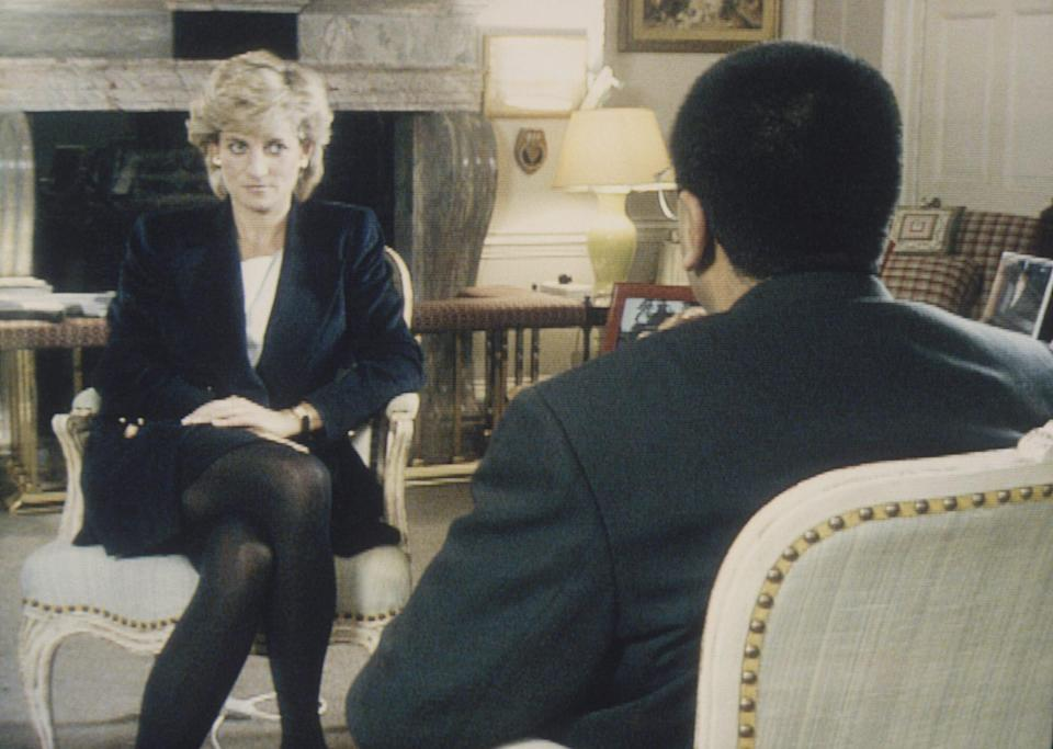 (Photo by © Pool Photograph/Corbis/Corbis via Getty Images) Princess Diana Being Interviewed