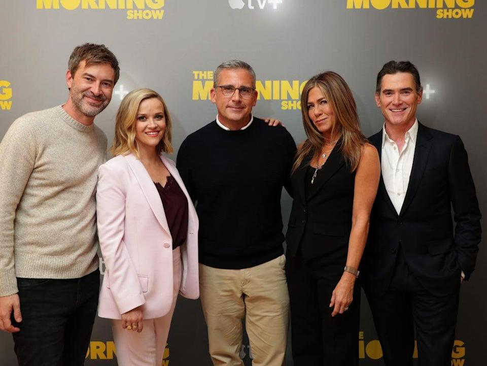 'The Morning Show' cast: Mark Duplass, Reese Witherspoon, Steve Carell, Jennifer Aniston and Crudup (Eric Charbonneau/Shutterstock)