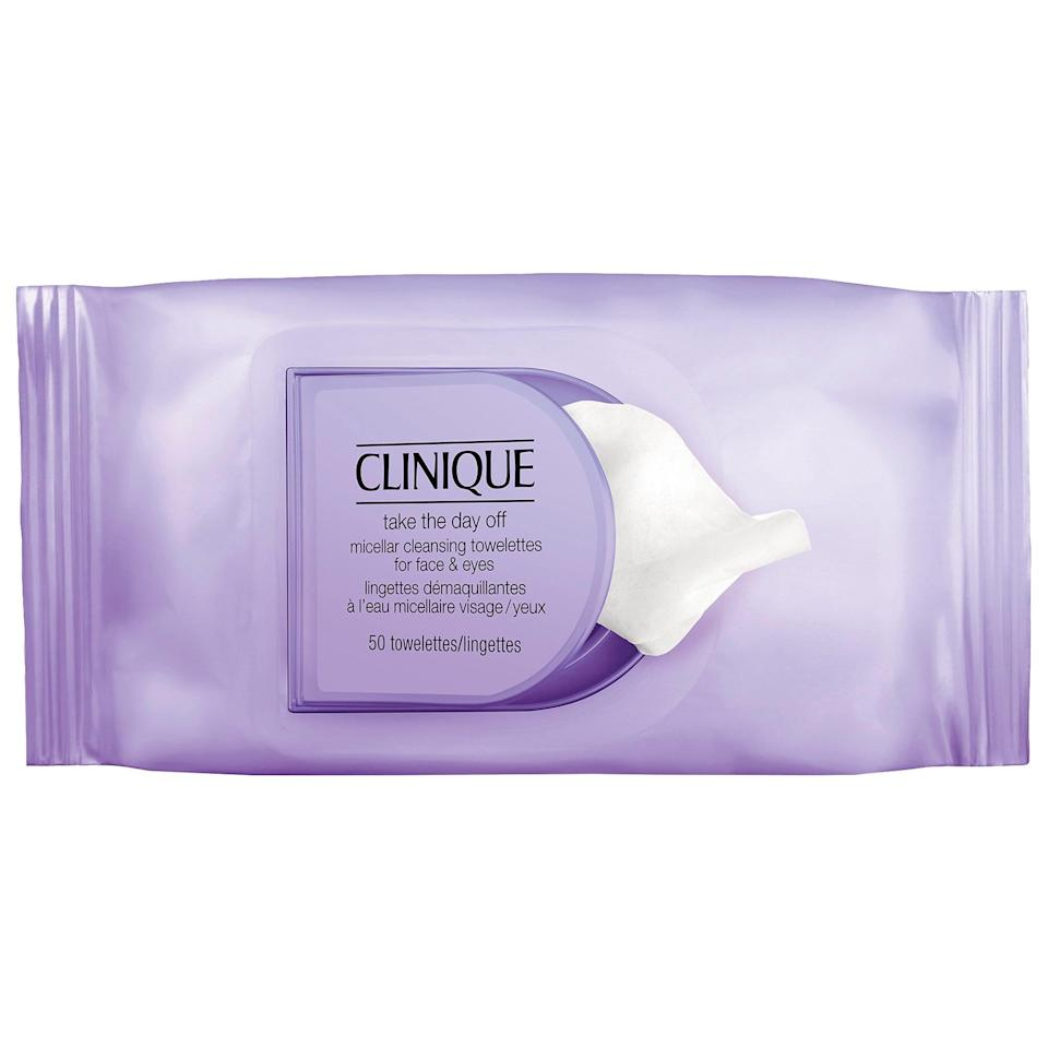 <p>The name says it all. These <span>Clinique Take the Day Off Micellar Cleansing Towelettes For Face &amp; Eyes</span> ($16) will take everything off, including heavy foundation and stubborn eye makeup.</p>