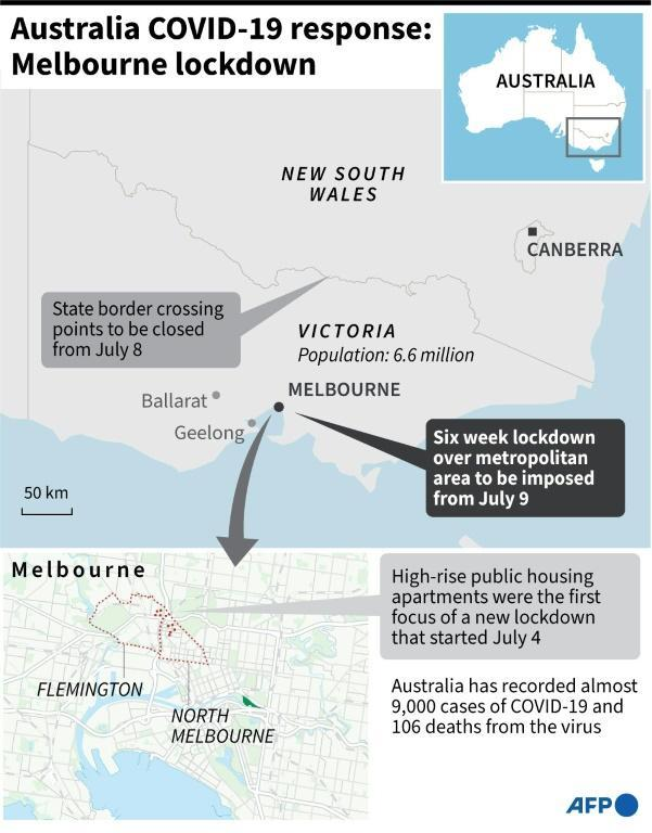 Map showing Melbourne, Australia where a new 6 week lockdown is to be imposed starting midnight Wednesday