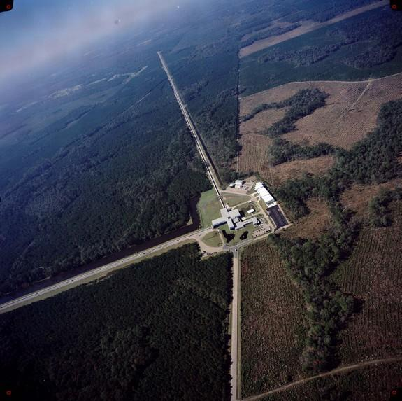 An aerial view of the Laser Interferometer Gravitational-Wave Observatory (LIGO) facility in Livingston, La.
