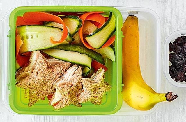 """<p>Cutting sandwiches into shapes will make school lunches a little more appealing. We recommend checking out this <a href=""""https://realfood.tesco.com/recipes/turkey-sandwich-stars.html"""" rel=""""nofollow noopener"""" target=""""_blank"""" data-ylk=""""slk:Tesco"""" class=""""link rapid-noclick-resp"""">Tesco</a> recipe which will work well with raw veggies and fruit. </p>"""