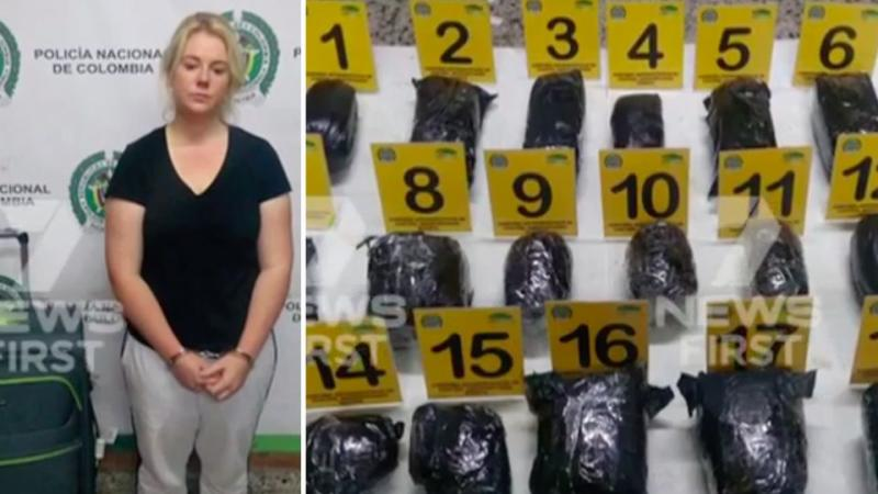 The 22-year-old is accused of attempting to smuggle 5.8 kilograms of cocaine out of Colombia before a tip off from the US saw her arrested moments before her flight.