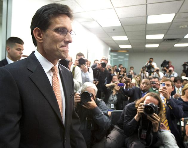 Then House Majority Leader Eric Cantor of Virginia, arrives for news conference on Capitol Hill in Washington, Wednesday, June 11, 2014. Repudiated at the polls, Cantor resigned his leadership post. (AP Photo/Manuel Balce Ceneta)