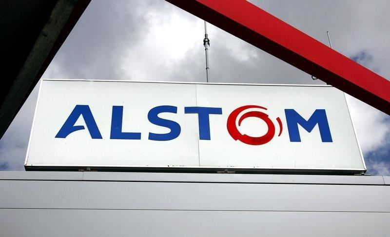 The logo of Alstom is seen on the entrance of Alstom plant in Aytre near La Rochelle