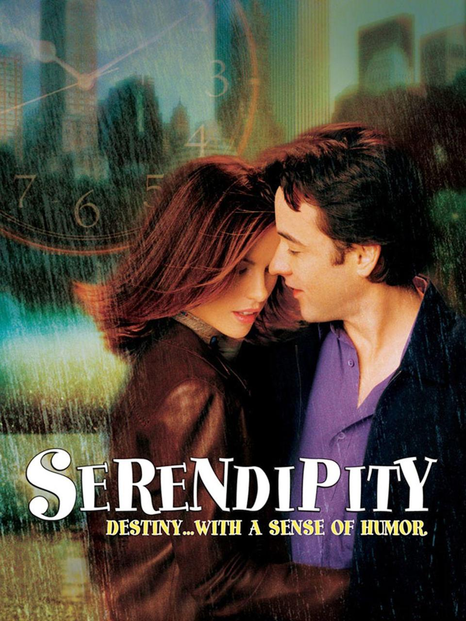 """<p>A cynic and a romantic are brought together for one magical evening, and decide to leave it up to fate as to whether or not they'll meet again. </p><p><a class=""""link rapid-noclick-resp"""" href=""""https://www.amazon.com/Serendipity-John-Cusack/dp/B00CAKCS9O/?tag=syn-yahoo-20&ascsubtag=%5Bartid%7C10050.g.25336174%5Bsrc%7Cyahoo-us"""" rel=""""nofollow noopener"""" target=""""_blank"""" data-ylk=""""slk:WATCH NOW"""">WATCH NOW</a></p>"""