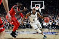 Cassius Winston #5 of the Michigan State Spartans drives to the basket during the first half against the Texas Tech Red Raiders during the 2019 NCAA Final Four semifinal at U.S. Bank Stadium on April 6, 2019 in Minneapolis, Minnesota. (Photo by Streeter Lecka/Getty Images)