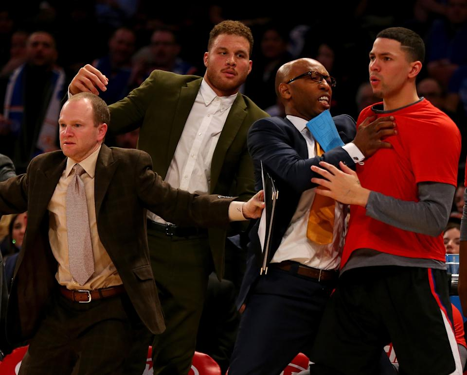 Blake Griffin broke his right hand in an off-court altercation. (Elsa/Getty Images)