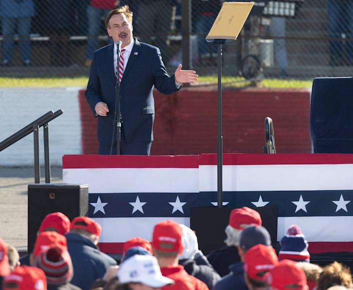 My Pillow CEO Mike Lindell speaks before a 2020 campaign appearance for President Donald Trump at the La Crosse County Fairgrounds in West Salem, Wis.