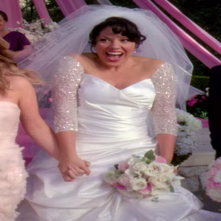 Callie wearing a dress with sparkly sleeves