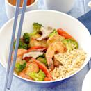 "<p>This seafood stir-fry is bursting with flavor and it's ready in 30 minutes! <a href=""http://www.eatingwell.com/recipe/263189/shrimp-and-scallop-vegetable-stir-fry/"" rel=""nofollow noopener"" target=""_blank"" data-ylk=""slk:View recipe"" class=""link rapid-noclick-resp""> View recipe </a></p>"