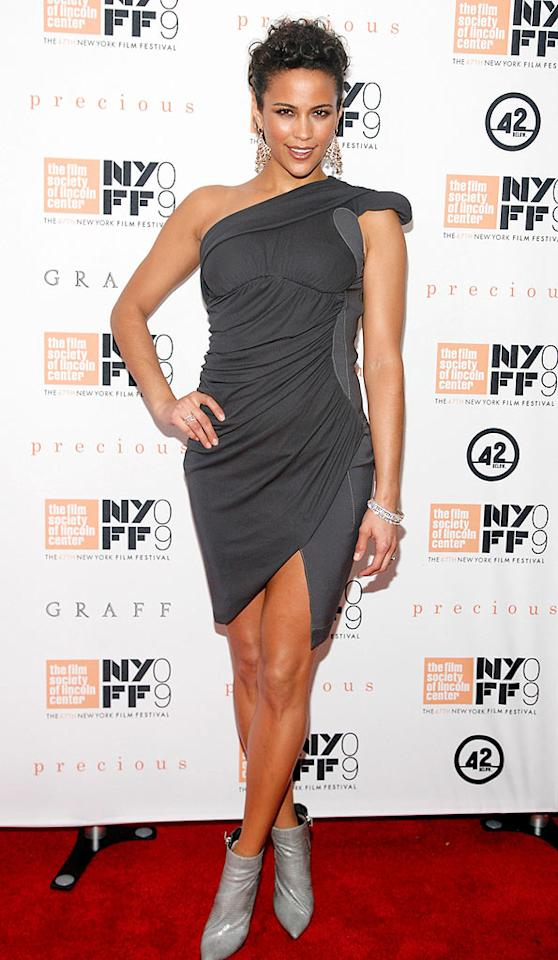 """Also in the Big Apple was Paula Patton, who opted to wear a fabulous asymmetrical Altuzarra dress and gray leather ankle booties to the premiere of her soon-to-be award-winning film, """"Precious."""" Amy Sussman/<a href=""""http://www.gettyimages.com/"""" target=""""new"""">GettyImages.com</a> - October 3, 2009"""