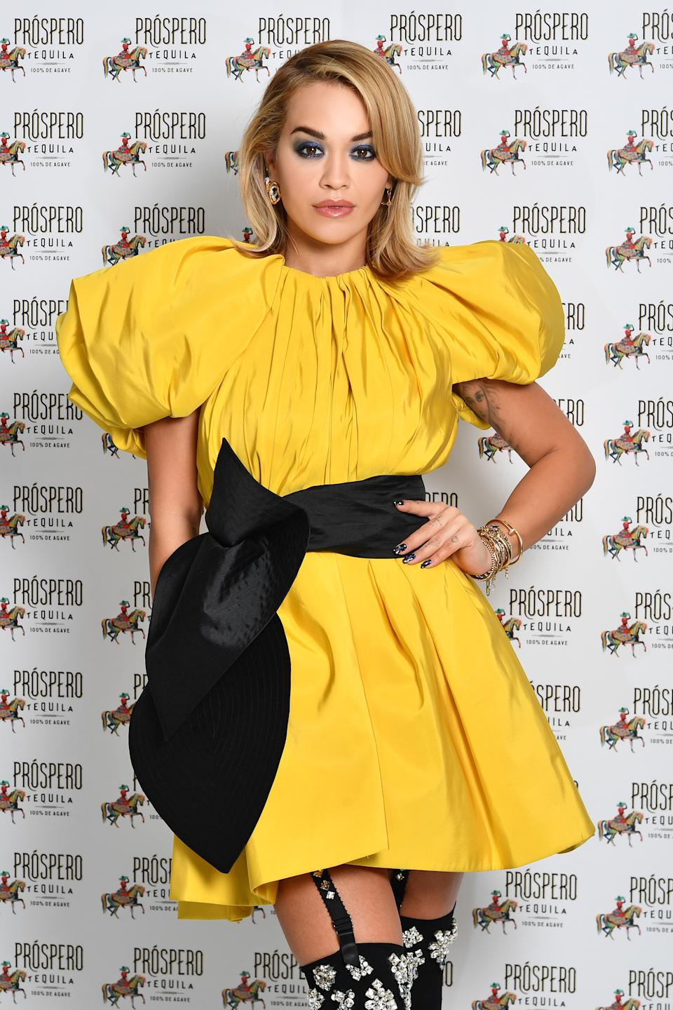 LONDON, ENGLAND - NOVEMBER 23: (EDITORS NOTE: This image has been retouched at the request of Artist's management.) In this image released on November 24th, Rita Ora poses during the Prospero Tequila UK Launch on November 23, 2020 in London, England. (Photo by Gareth Cattermole/Getty Images for ABA)