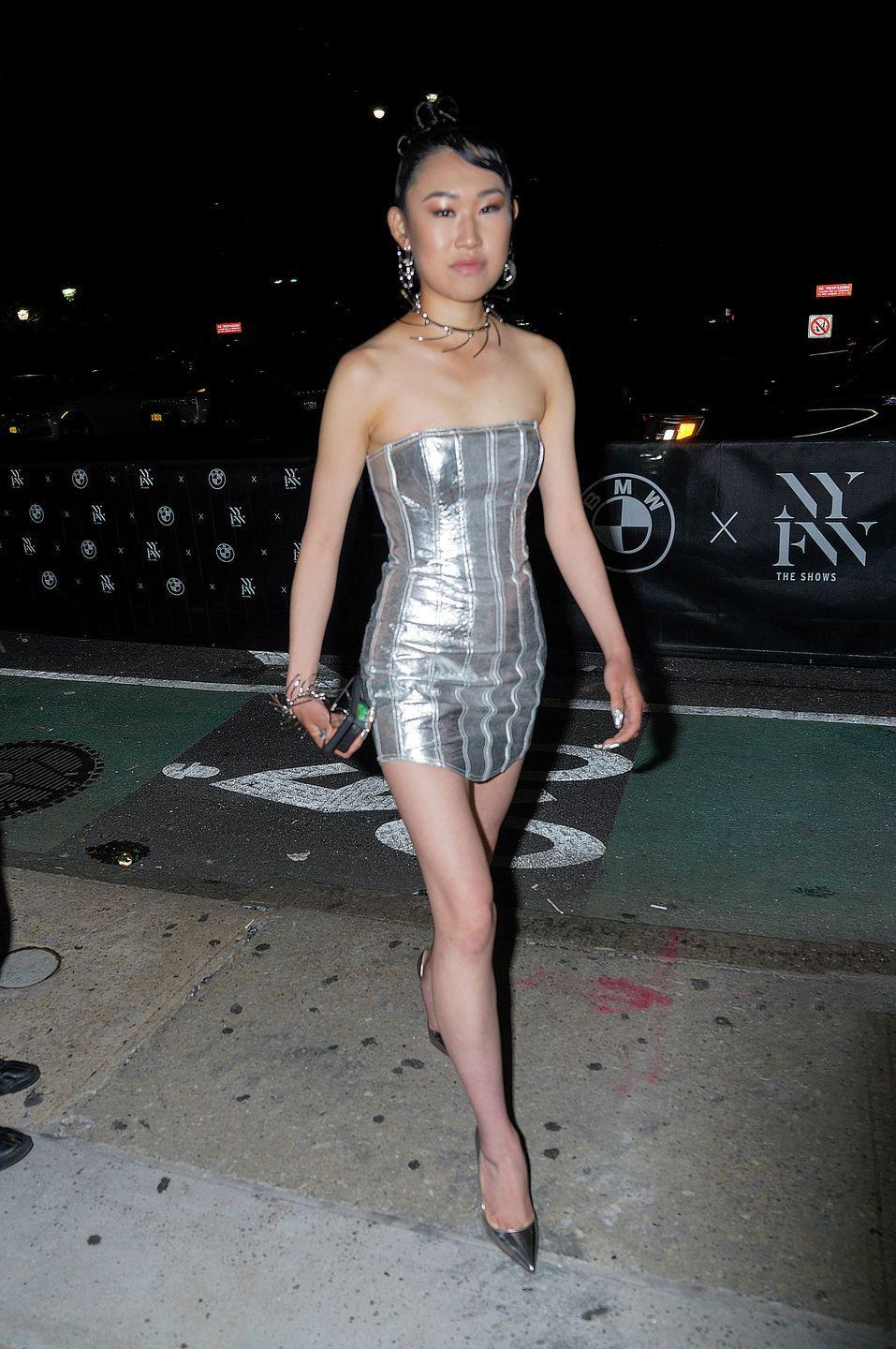 <p>The heiress and fashion connoisseur was spotted heading in to Bella Hadid's fashion week party.</p>