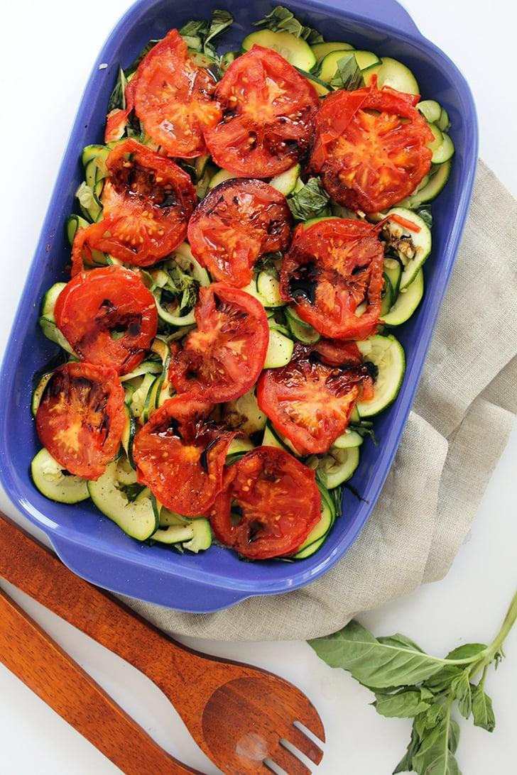 "<p>The hardest part of this recipe is spiraling the zucchini, but if you have a spiralizer, it's a breeze and only takes 15 minutes to make! </p> <p><strong>Get the recipe</strong>: <a href=""http://www.inspiralized.com/2014/08/14/grilled-tomatoes-and-basil-zucchini-noodles-with-balsamic-glaze/"" class=""link rapid-noclick-resp"" rel=""nofollow noopener"" target=""_blank"" data-ylk=""slk:grilled tomatoes and basil zucchini &quot;noodles&quot;"">grilled tomatoes and basil zucchini ""noodles""</a></p>"