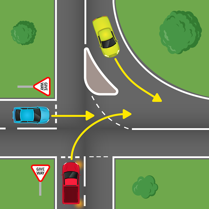 Pictured is the three cars- green, blue and red at the intersection with the two give. way signs