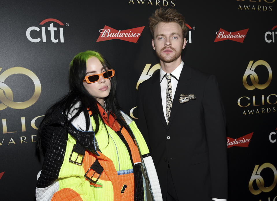 Singer-songwriters Billie Eilish, left, and her brother Finneas O'Connell attend the 60th annual Clio Awards at The Manhattan Center on Wednesday, Sept. 25, 2019, in New York. (Photo by Evan Agostini/Invision/AP)