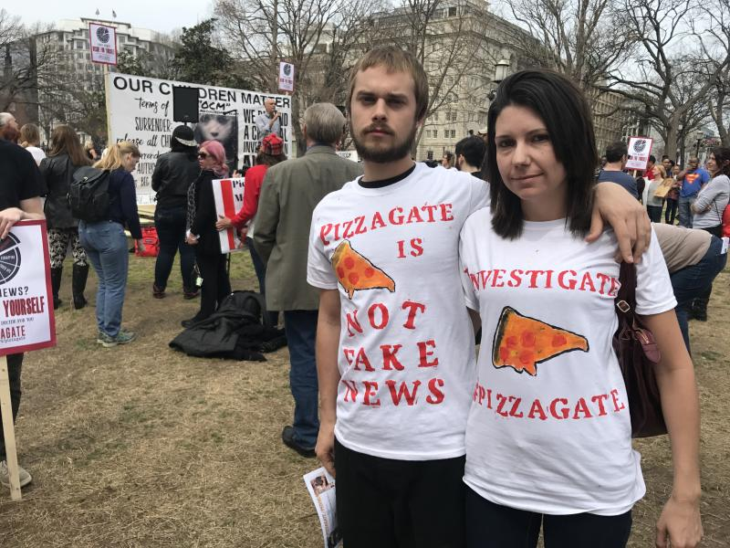 WASHINGTON, DC - MARCH 25: FILE, Kori and Danielle Hayes at a Pizzagate demonstration, outside the White House in Washington, DC on March 25, 2017. (Photo by Michael E. Miller/The Washington Post via Getty Images)