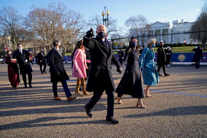 President Joe Biden and first lady Jill Biden receive Presidential Escort to the White House after the 59th Presidential Inauguration in Washington January 20, 2021. (Doug Mills/Pool via Reuters)