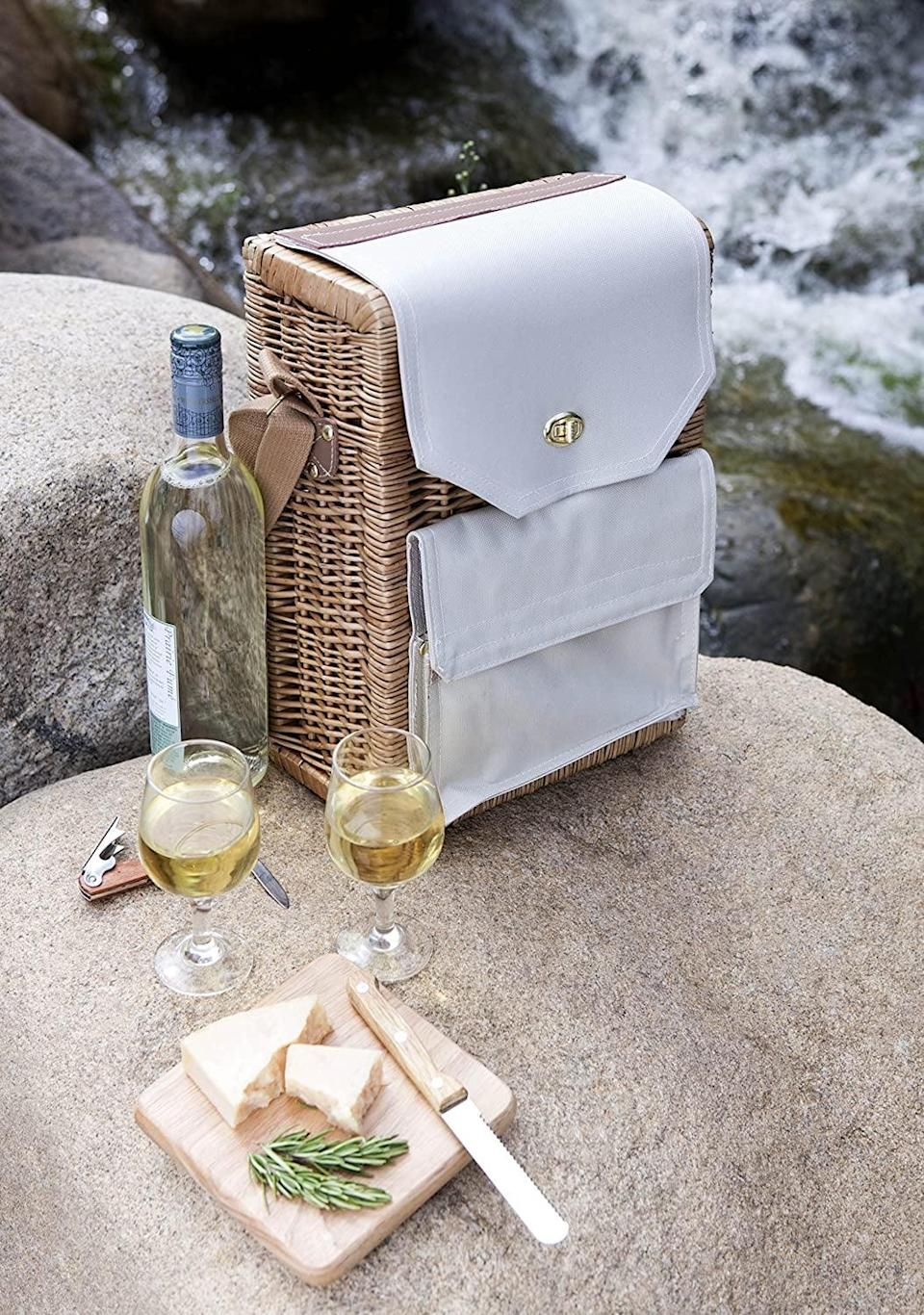 <p>This <span>Picnic Time Corsica Insulated Wine Basket</span> ($69) is so cute and functional.</p>