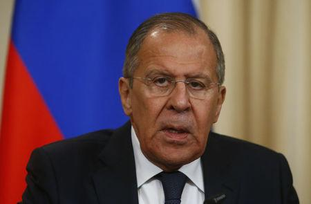 Russia's Foreign Minister Sergei Lavrov speaks during a press conference with his Turkish counterpart Mevlut Cavusoglu in Moscow