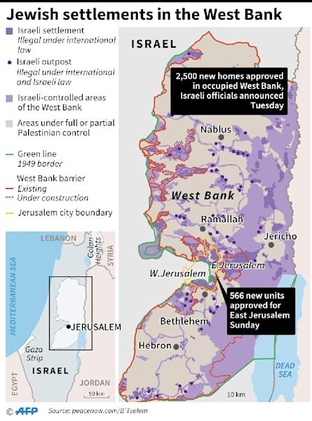 Map showing occupied West Bank where Israel officials announced Tuesday 2,500 new homes will be built (AFP Photo/AFP )