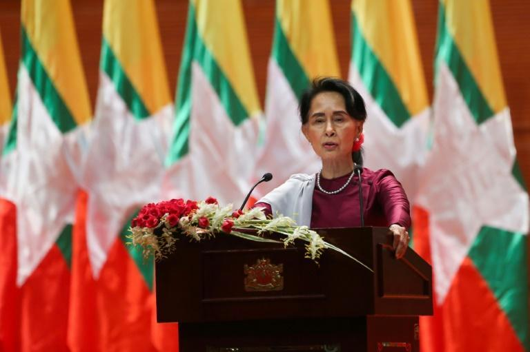 "Aung San Suu Kyi said on September 19 she ""feels deeply"" for the suffering of ""all people"" caught up in conflict scorching through Rakhine state, her first comments on a crisis that also mentioned Muslims displaced by violence"