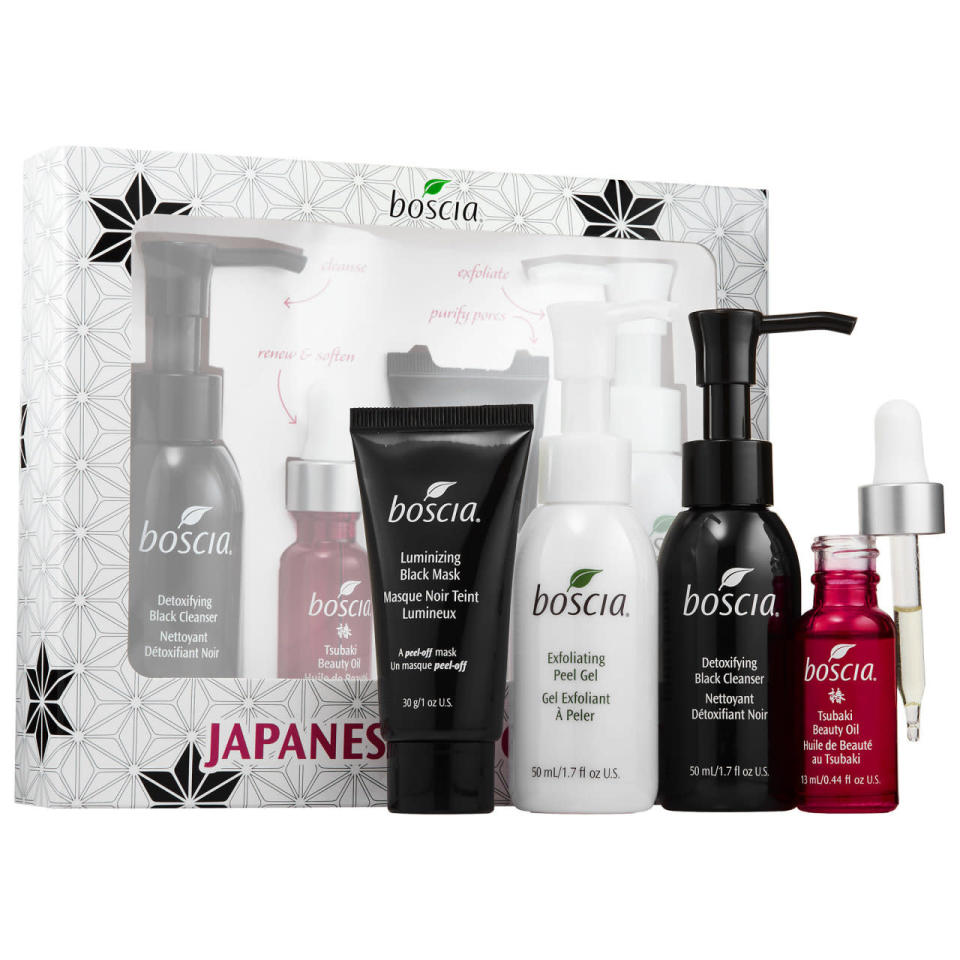 "<p>There are a lot of beauty product gift boxes to choose from during the holiday season, which has its pros and cons. Consider this set of bestselling products from Boscia are inspired by the brand's Japanese heritage — it's not quite a holiday trip to Japan, but it's a lot cheaper. <b><a href=""http://www.sephora.com/japanese-favorites-P401242"" rel=""nofollow noopener"" target=""_blank"" data-ylk=""slk:Boscia Japanese Favorites Set"" class=""link rapid-noclick-resp"">Boscia Japanese Favorites Set</a> ($35)</b><br></p>"