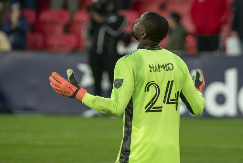 WASHINGTON, DC - MARCH 07: Bill Hamid #24 of DC United gives thanks at the end of the mtch during a game between Inter Miami CF and D.C. United at Audi Field on March 07, 2020 in Washington, DC. (Photo by Tony Quinn/ISI Photos/Getty Images)