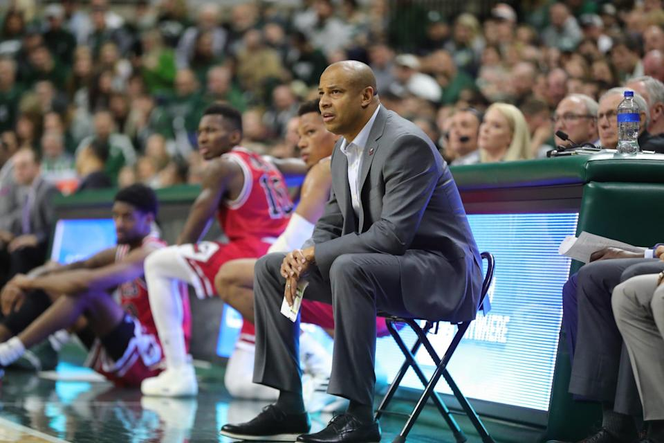 Northern Illinois head coach Mark Montgomery during the first half against Michigan State, Saturday, Dec. 29, 2018 at the Breslin Center in East Lansing.
