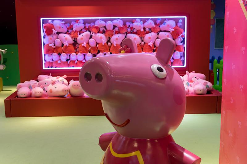 SHANGHAI, CHINA - JANUARY 22: Peppa Pig toys are on display inside the Peppa Pig-themed pop-up store to welcome the Chinese New Year, the Year of the Pig, on January 22, 2019 in Shanghai, China. Chinese New Year, the Year of the Pig, will fall on February 5 this year. (Photo by Wang Gang/Visual China Group via Getty Images)