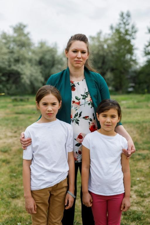 Teacher Bonnie Lepine Antoine, pictured with her children Sequoia (left) and Maya, at the Collines-D'Or school where she and the Kamloops Francophone association are recording students speaking about the history of Canada's residential school system