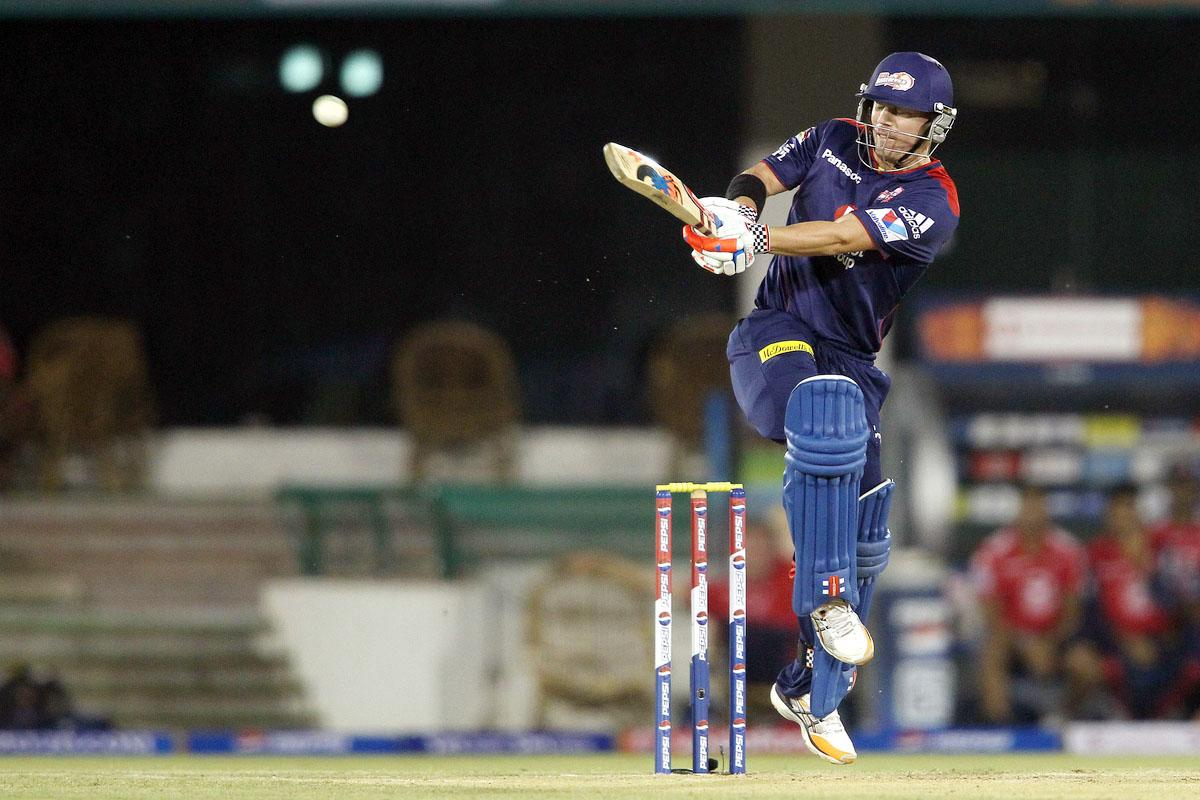 David Warner of Delhi Daredevils pulls a delivery to the boundary during match 39 of the Pepsi Indian Premier League between The Delhi Daredevils and the Pune Warriors India held at the Chhattisgarh International Cricket Stadium in Raipur on the 28th April 2013. (BCCI)
