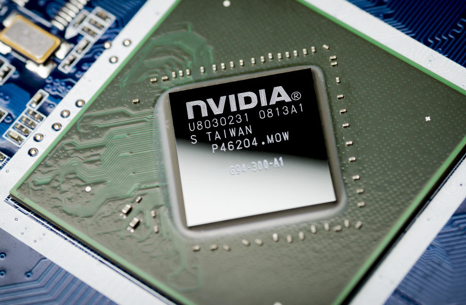 Moscow, Russia - April 7, 2019: NVIDIA video chip on the motherboard, close-up