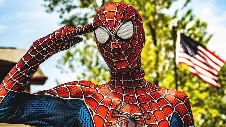 """<em>Justman, as Spider-Man also offered some simple and uplifting advice during this difficult time: """"Stay positive, stay safe, and stay super."""" (Photo courtesy of Mike Justman)</em>"""