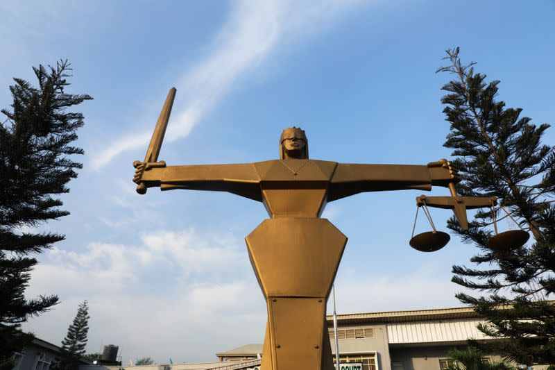 The Statue of Lady Justice is pictured at the premises of the Federal High Court in Lagos