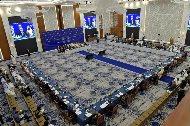 Delegates attend the opening session of the two-day Ministerial Maritime and Aviation Security Working Group meeting in the Bahraini capital Manama (AFP Photo/-)