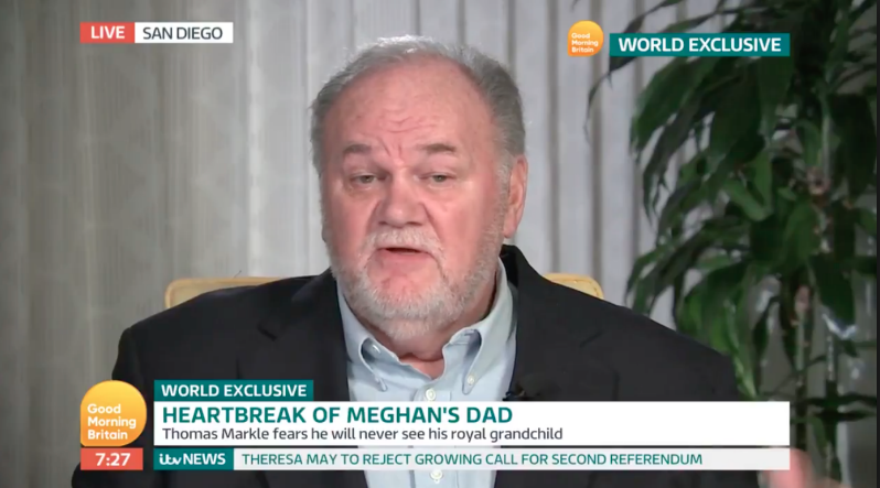 Thomas Markle leaked a letter to the Daily Mail, which was written by the Duchess of Sussex. Photo: ITV
