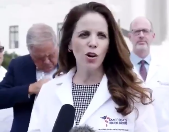 Dr. Simone Gold speaking in front of the Supreme Court. (Twitter)