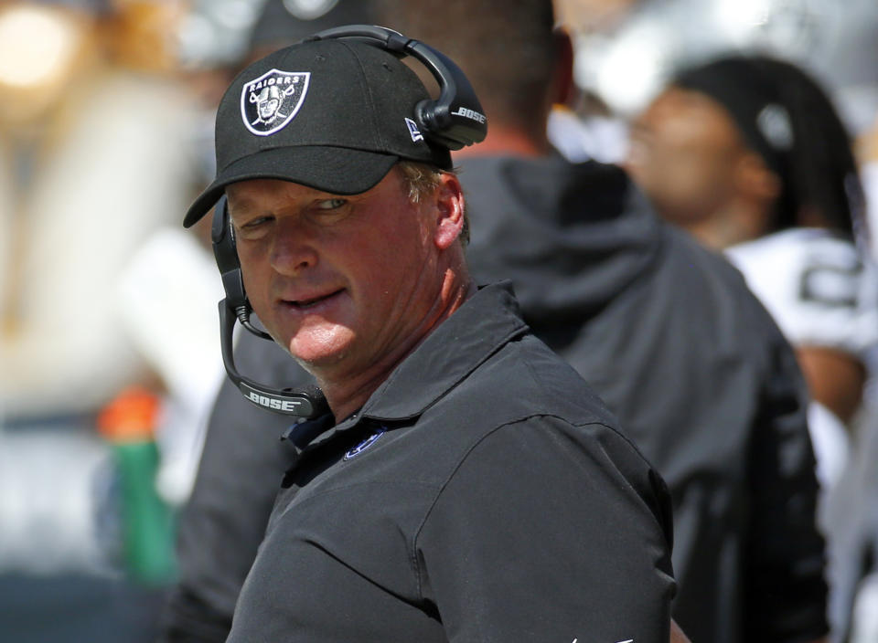 Jon Gruden used a racist trope to describe NFLPA executive director DeMaurice Smith, then spent Friday digging himself a deeper hole. (Photo by Justin K. Aller/Getty Images)